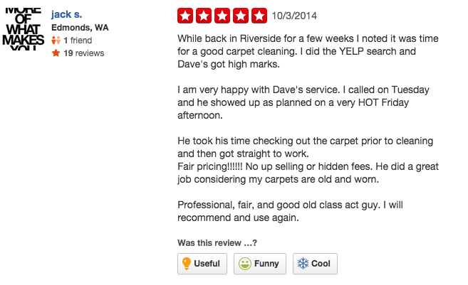 Another Great Yelp Review Dave The Carpet Cleaner