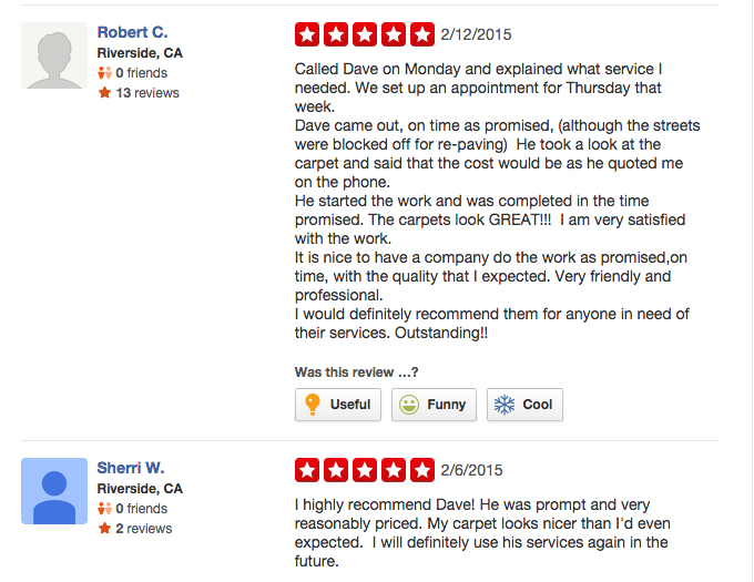 Check Out Our Latest Yelp Reviews Dave The Carpet