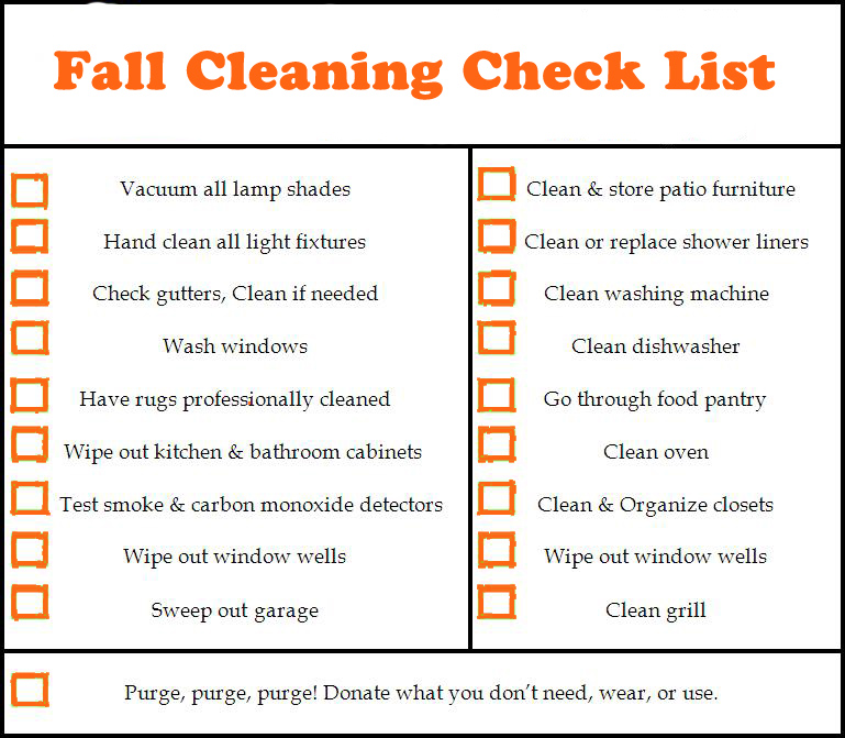 Fall Cleaning Check List | Dave The Carpet Cleaner Riverside CA 951-907-9911